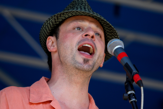 Elliot Gorton, singer of Blues Frenzy, performs at the blues festival in 2010. (UptownMessenger.com file photo by Sabree Hill)