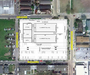 Initial plans for use of a vacant Lower Garden District lot for a temporary campus for Audubon Charter School.