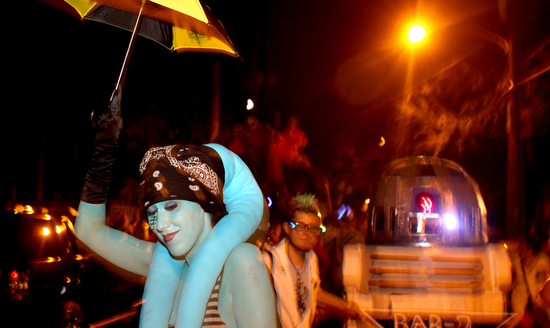 The Intergalactic Krewe of Chewbacchus -- shown here on Oak Street in 2011 -- are stalwarts of the Mid-Summer Mardi Gras parade, which this year is set for Aug. 23. (UptownMessenger.com file photo)