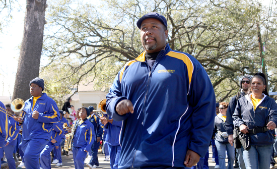 """Treme"" actor Wendell Pierce marches with students from his character's school in the Krewe of Carrollton in February 2012. (Sabree Hill, UptownMessenger.com)"