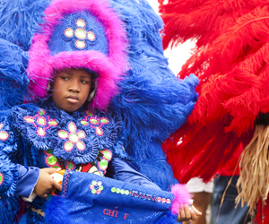 Mardi Gras Indians celebrate Super Sunday in 2012. (UptownMessenger.com file photo by Sabree Hill)