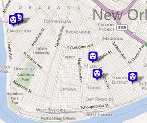 Five robberies have been reported in the Uptown area since Thursday night. (map via NOPD.com)