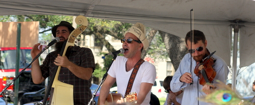 "The members of Debauche, a ""Russian Mafia Band"" perform at the Freret Street Festival in 2012. (Robert Morris, UptownMessenger.com)"