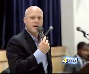 Mayor Mitch Landrieu fields questions during a 2012 community meeting about the city budget. (UptownMessenger.com file photo via WWL-TV)