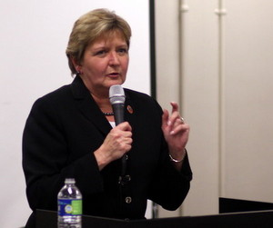 City Councilwoman Susan Guidry speaks at a town hall meeting in Carrollton in February 2013. (UptownMessenger.com file photo by Robert Morris)