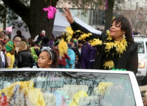 Councilwoman LaToya Cantrell rides in the Krewe of Zulu on Mardi Gras day, 2013. (UptownMessenger.com file photo by Sabree Hill)