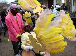 "Pigeontown Steppers president Joseph ""Rollin' Joe"" Henry second lines up General Ogden in west Carrollton on Easter Sunday in 2013. (UptownMessenger.com file photo by Robert Morris)"