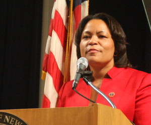 "City Councilwoman LaToya Cantrell delivers her ""State of District B"" address Tuesday night (2013) at City Hall. (Robert Morris, UptownMessenger.com)"