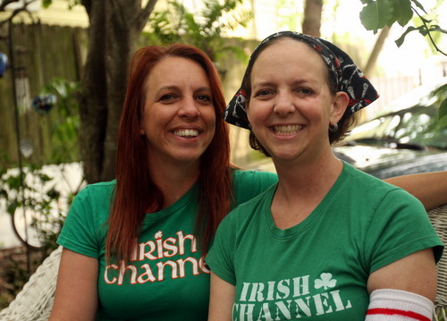 Kara Morgan (right) and her sister, Kristine Rizzuto, at Morgan's home in the Irish Channel in 2013, several months after Morgan's diagnosis with cancer. (Robert Morris, UptownMessenger.com)