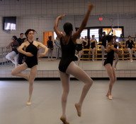 Ballet students rehearse in a studio in the Lyons Center on Monday morning. (Robert Morris, UptownMessenger.com)