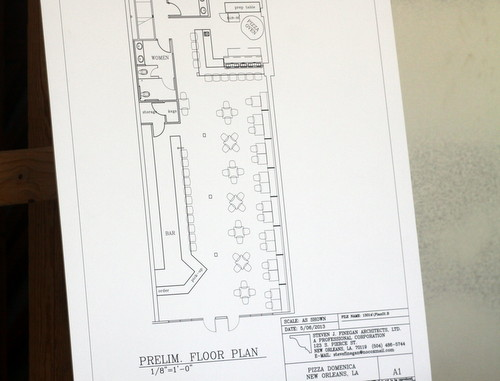 The floor plans for the new restaurant by architect Stephen Finegan. (Robert Morris, UptownMessenger.com)
