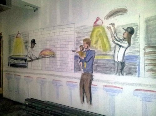 A mural envisions families watching their pizza being prepared at the restaurant's wood-fired oven. (Robert Morris, UptownMessenger.com)