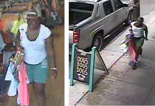 Surveillance photo from an Aug. 18 shoplifting in the 3300 block of Magazine Street. (image via NOPD)