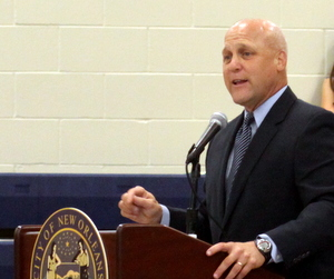 Mayor Mitch Landrieu addresses District B residents about the city's budget Wednesday evening at KIPP Central City Academy. (Robert Morris, UptownMessenger.com)