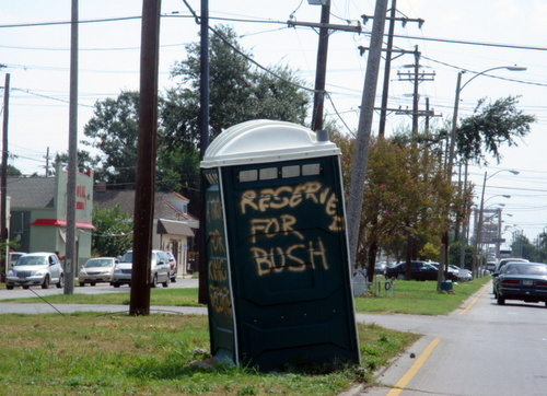 A spray-painted welcome to President Bush on St. Claude Avenue on Aug. 29, 2006. (photo by jewel bush)
