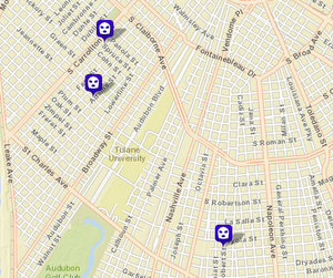 Carjackings on Spruce, Jeanette and South Saratoga Street. (map via NOPD)