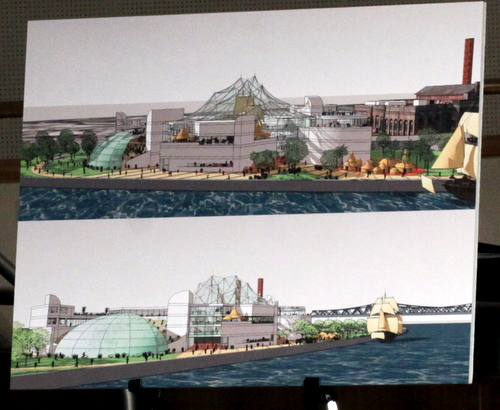 Renderings of the riverfront National Slave Ship Museum presented at City Council on Tuesday. (Robert Morris, UptownMessenger.com)