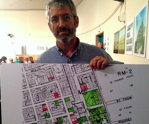 Irish Channel resident Mark Redding appeared before city council Wednesday with a map of all the blighted properties in his neighborhood. (Photo by Della Hasselle for MidCityMessenger.com)
