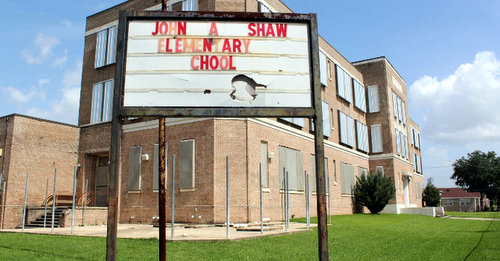 The John A. Shaw Elementary School building in the St. Roch neighborhood. (via latterblum.com)