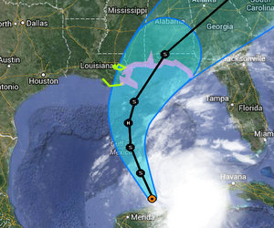 Tropical Storm Karen is expected to strengthen into a Category 1 hurricane tracking toward the central Gulf Coast this weekend. (map via the National Hurricane Center)