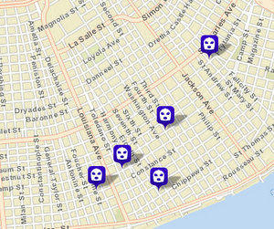 Four armed robberies and a simple robbery over the last two weeks around the Garden District. (map via NOPD.com)