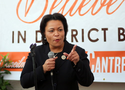 City Councilwoman LaToya Cantrell speaks at her first re-election fundraiser on Oct. 9. (Robert Morris, UptownMessenger.com)