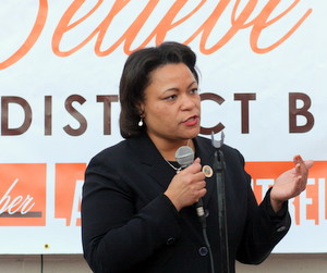City Councilwoman LaToya Cantrell speaks during a campaign event in 2013. (UptownMessenger.com file photo by Robert Morris)