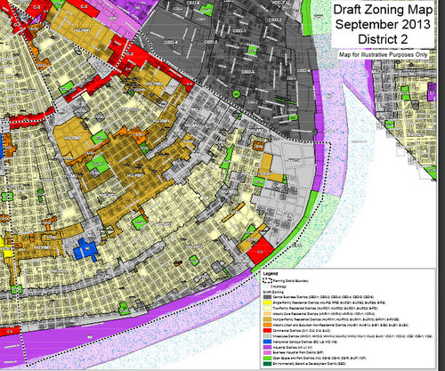 An overview of the Comprehensive Zoning Ordinance in Planning District 2, which covers part of Uptown. The St. Charles and Magazine corridors, where a design-review committee will evaluate major projects, is highlighted in light blue. (via nola.gov)