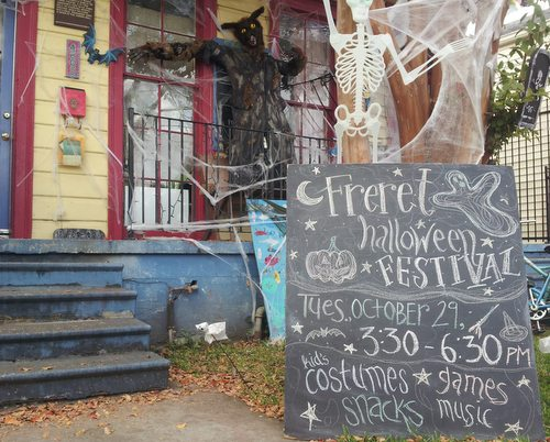 The Freret Neighborhood Center announces Tuesday's Halloween festival. (Robert Morris, UptownMessenger.com)
