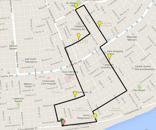 Map of Prince of Wales second line route (via Google maps)