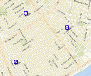 Robbery and robbery attempts on Magazine and Baronne streets; incident on Third not shown. (via NOPD)