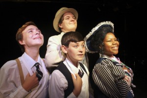 Tia Williams as Dolly, with Ross Bollinger (Vandergelder), Andrew King (Cornelius) and Grayson Gold (Barnaby). (submitted photo)