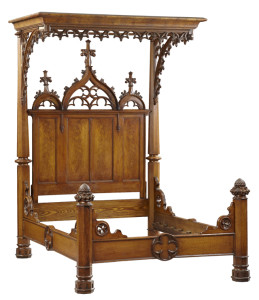 American Gothic Revival carved oak half tester bed, circa mid-19th century, impressive at 97 inches tall.