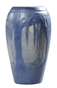 "Newcomb College art pottery matte glaze vase in the ""Moon and Moss"" motif, 5 1/8 inches tall, circa 1930."
