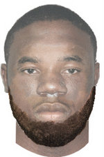 Computer-aided sketch of suspect; not a photograph (via NOPD).