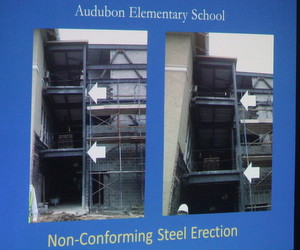 An illustration of problems with the steel beams at Audubon's Broadway campus. (UptownMessenger.com file photo)