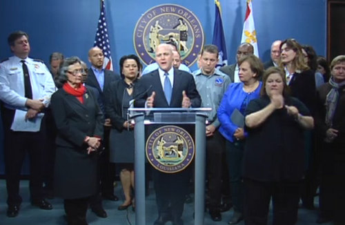 Mayor Mitch Landrieu and other city officials speak about the dangers from the coming winter storm on Monday afternoon. (via nola.gov)