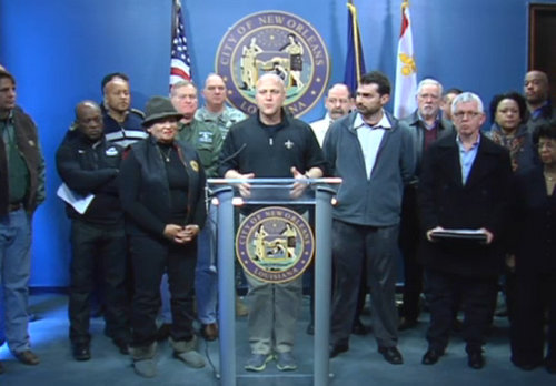 Mayor Mitch Landrieu and other officials speak about second day of freezing temperatures in New Orleans on Wednesday morning. (via nola.gov)