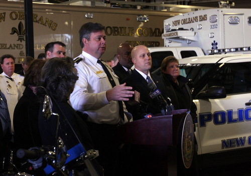 NOPD Superintendent Ronal Serpas, Mayor Mitch Landrieu and several city council members talk about new equipment for the police force. (Robert Morris, UptownMessenger.com)