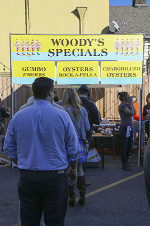 People wait in line for Woody's Fish Tacos' oyster dishes during the first annual Freret Street Oyster Jam. (Zach Brien, UptownMessenger.com)