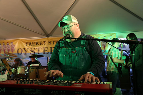 Keyboardist and organist John Gros plays with the newest New Orleans super group Raw Oyster Cult.The Cult is made up of Gros, former Radiators guitarists Camile Baudoin and Tom Malone and drummer Frank Bua Jr. and bassist Dave Pomerleau from Johnny Sketch and the Dirty Notes. (Zach Brien, UptownMessenger.com)