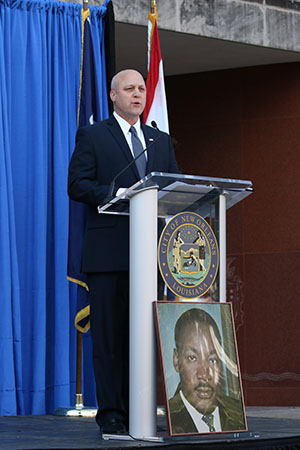 New Orleans' mayor Mitch Landrieu delivers his call to action in front of City Hall before the 27th annual MLK Jr. Day Parade.