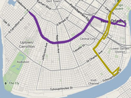 The Claiborne bus line is shown in purple, and the Jackson route through Uptown is in tan. (via norta.com)