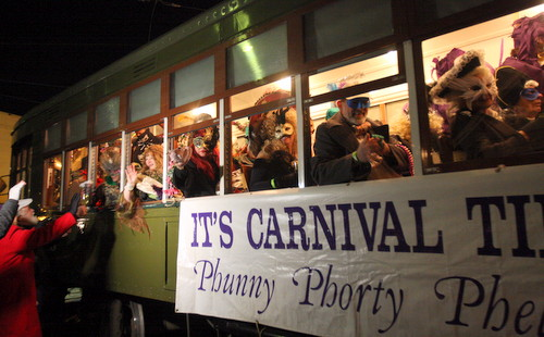 The Phunny Phorty Phellows begin their streetcar ride from the Willow Street car barn. (Robert Morris, UptownMessenger.com)