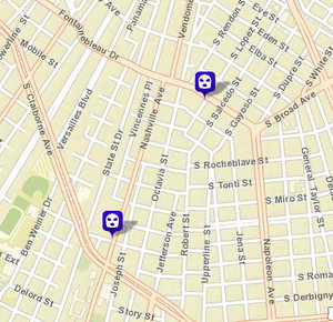 Robbery on Nashville and South Johnson; robbery attempt on South Lopez. (map via NOPD)