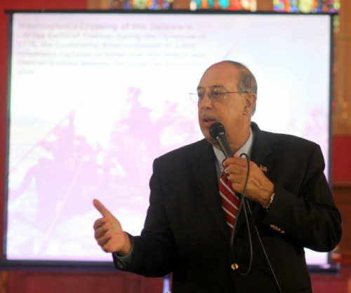 Lt. Gen. Russell Honore addresses the Louisiana Landmarks Society on Monday evening at the First Unitarian Universalist Church in New Orleans. (Robert Morris, UptownMessenger.com)
