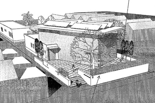 A drawing of the proposed community center included in city documents.