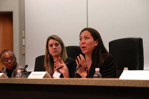 Katie Schwartzmann, lead counsel in the lawsuit against the Orleans Parish Prison that led to the consent decree, discusses the case at Loyola University on Friday. (Zach Brien for UptownMessenger.com)