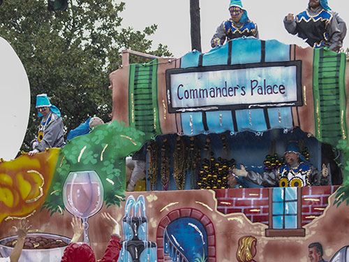 Commander's Palace float. Commander's Palace is one of New Orleans' finest restaurants. Krewe of Alla 2014, (Zach Brien, UptownMessenger.com)