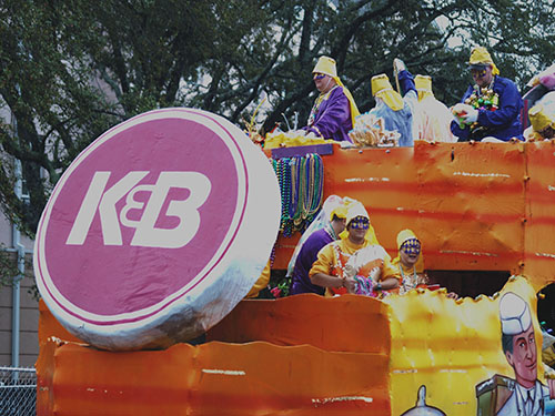 A float dedicated to the now-defunct K&B drug store, a local chain that still remains in popular lore. Krewe of Alla 2014, (Zach Brien, UptownMessenger.com)